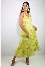 1970's Yellow Floral Halter Maxi Dress
