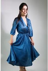 1970's Blue Satin Day Dress