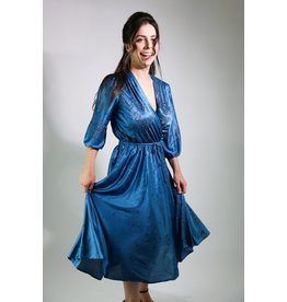1970's Blue Satin Day Dress