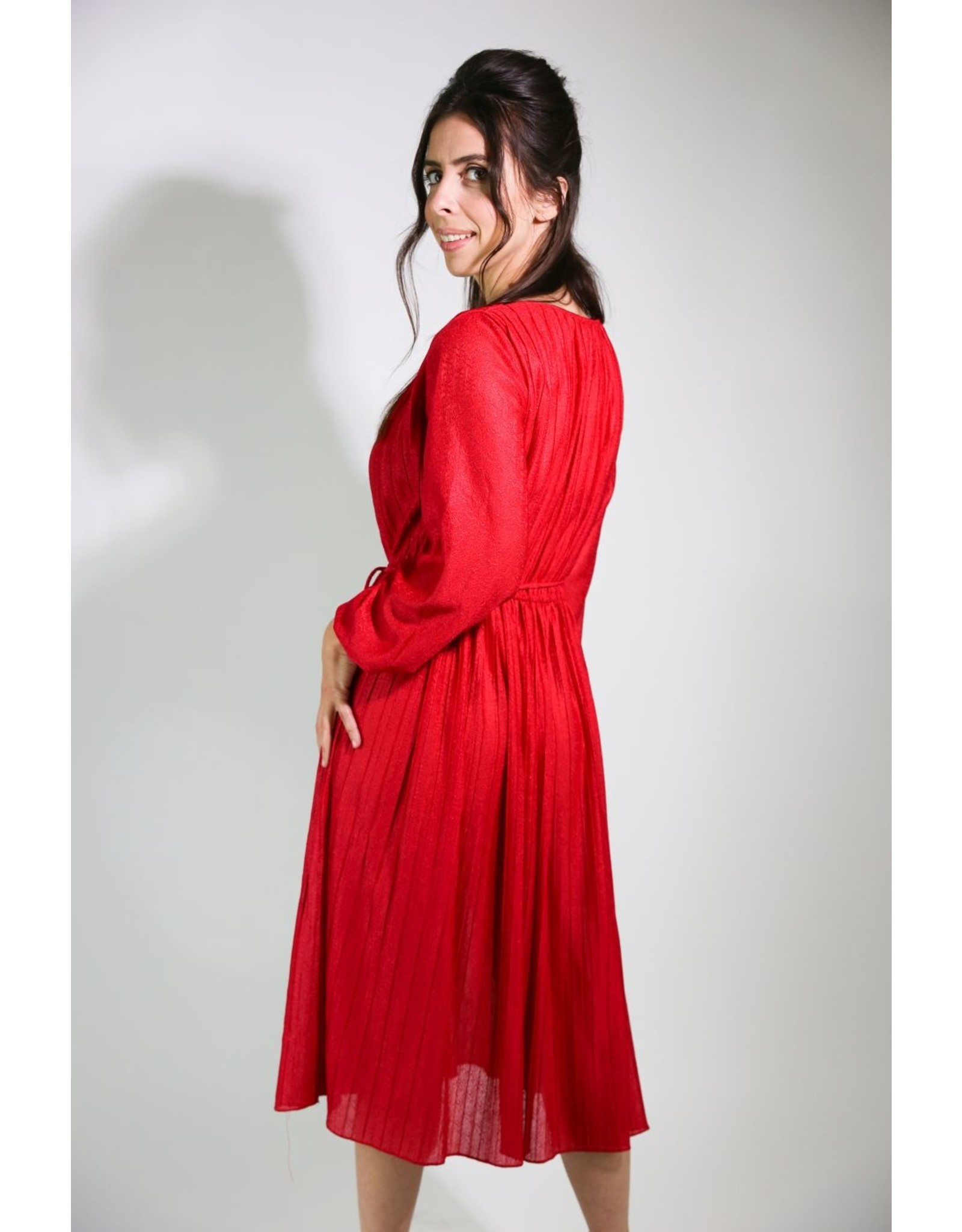 1970's Red Shimmery Midi Dress
