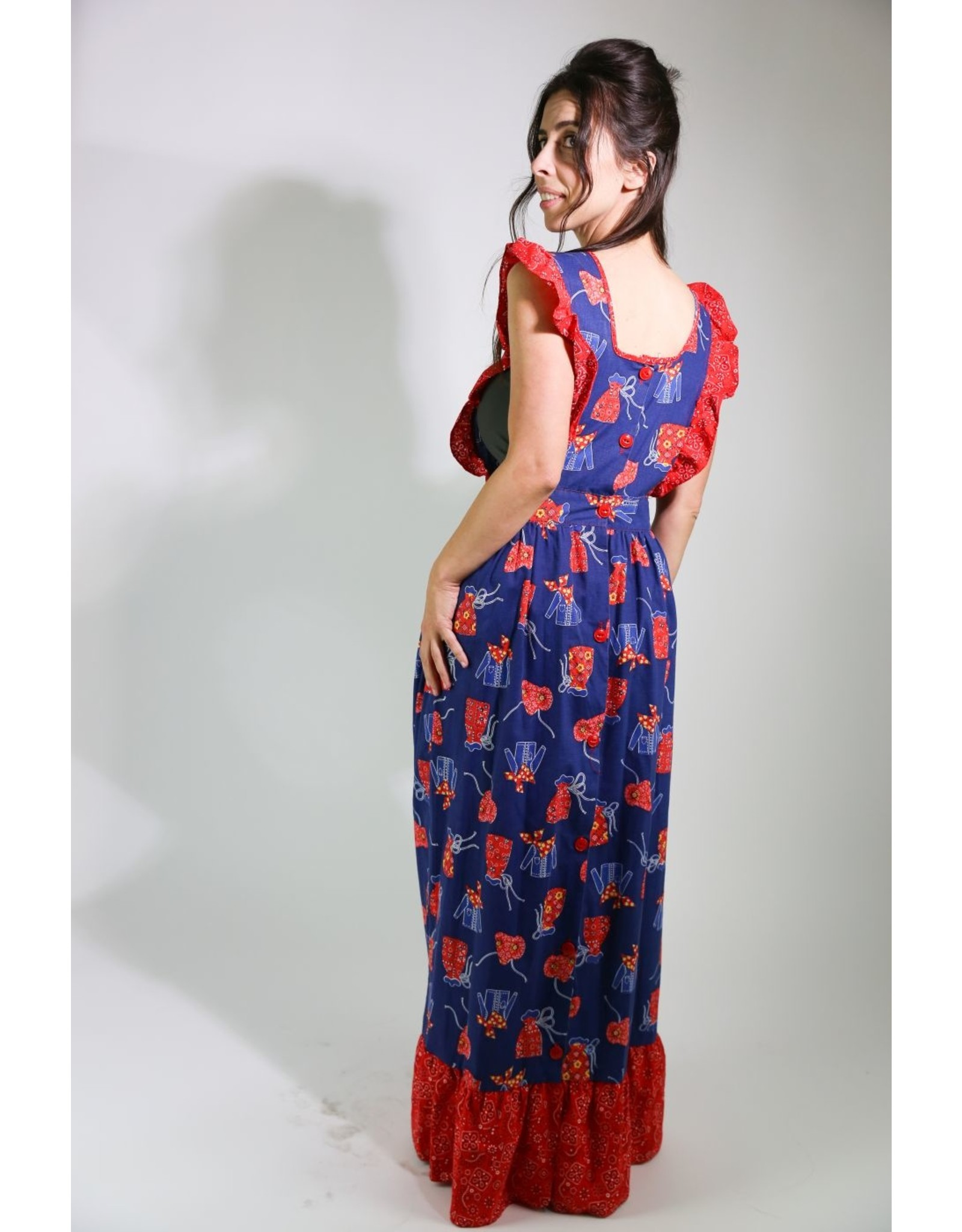 1970's Blue & Red Apron Dress