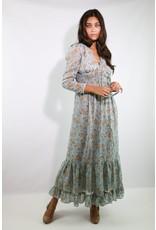 1970's Blue & Brown Floral Prairie Dress