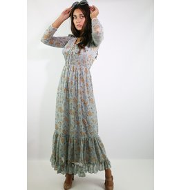 1970's Blue & Brown Floral Prairie Dress