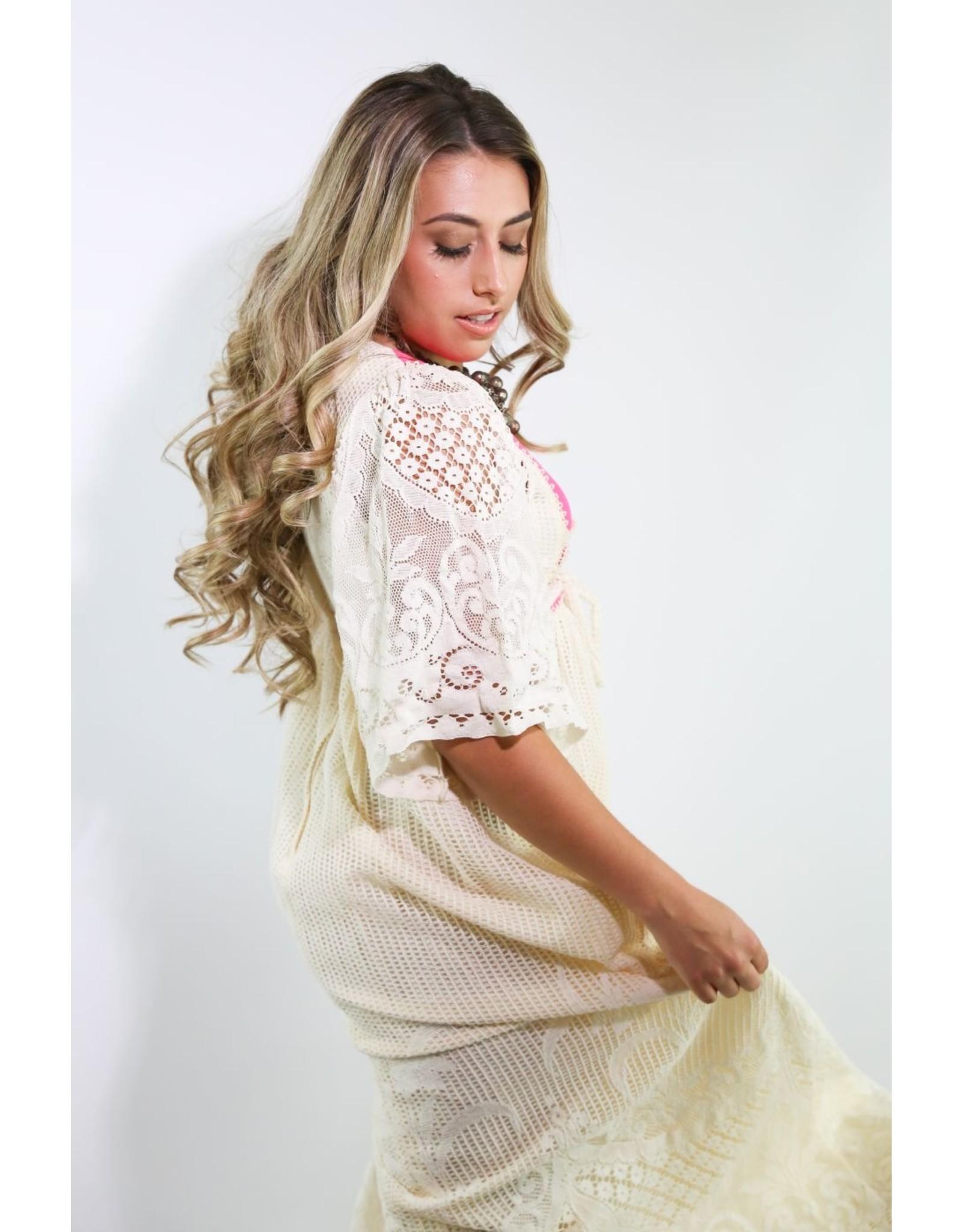 1970's  Ivory & Pink Crochet Prairie Dress