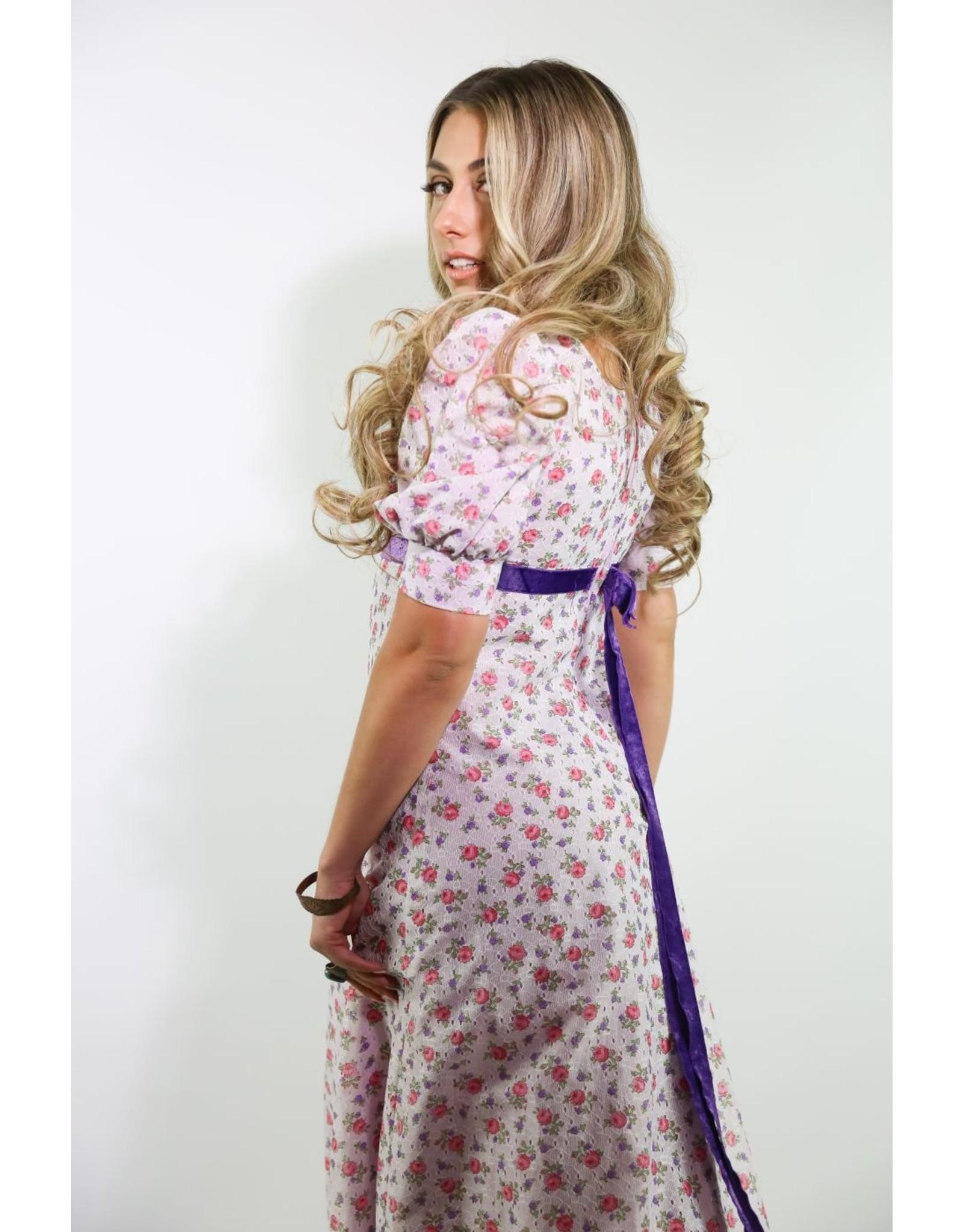 1970's Purple Floral Prairie Dress