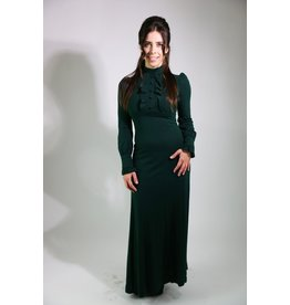 1970's Hunter Green Victorian Revival Maxi Dress