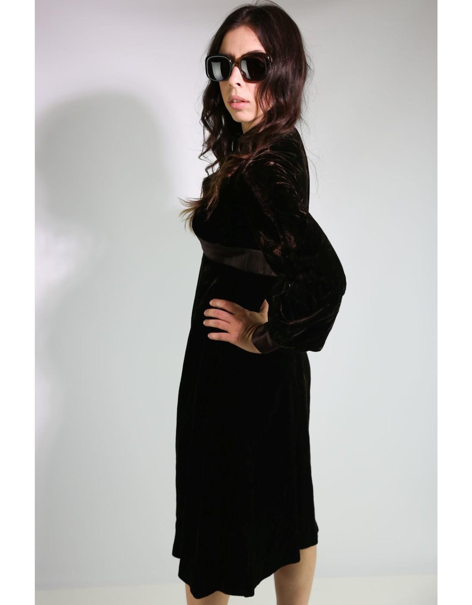 1970's Brown Velvet Victorian Revival Midi Dress
