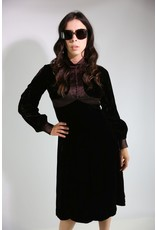 1970's Brown Velvet Victorian Revival Midi Dress