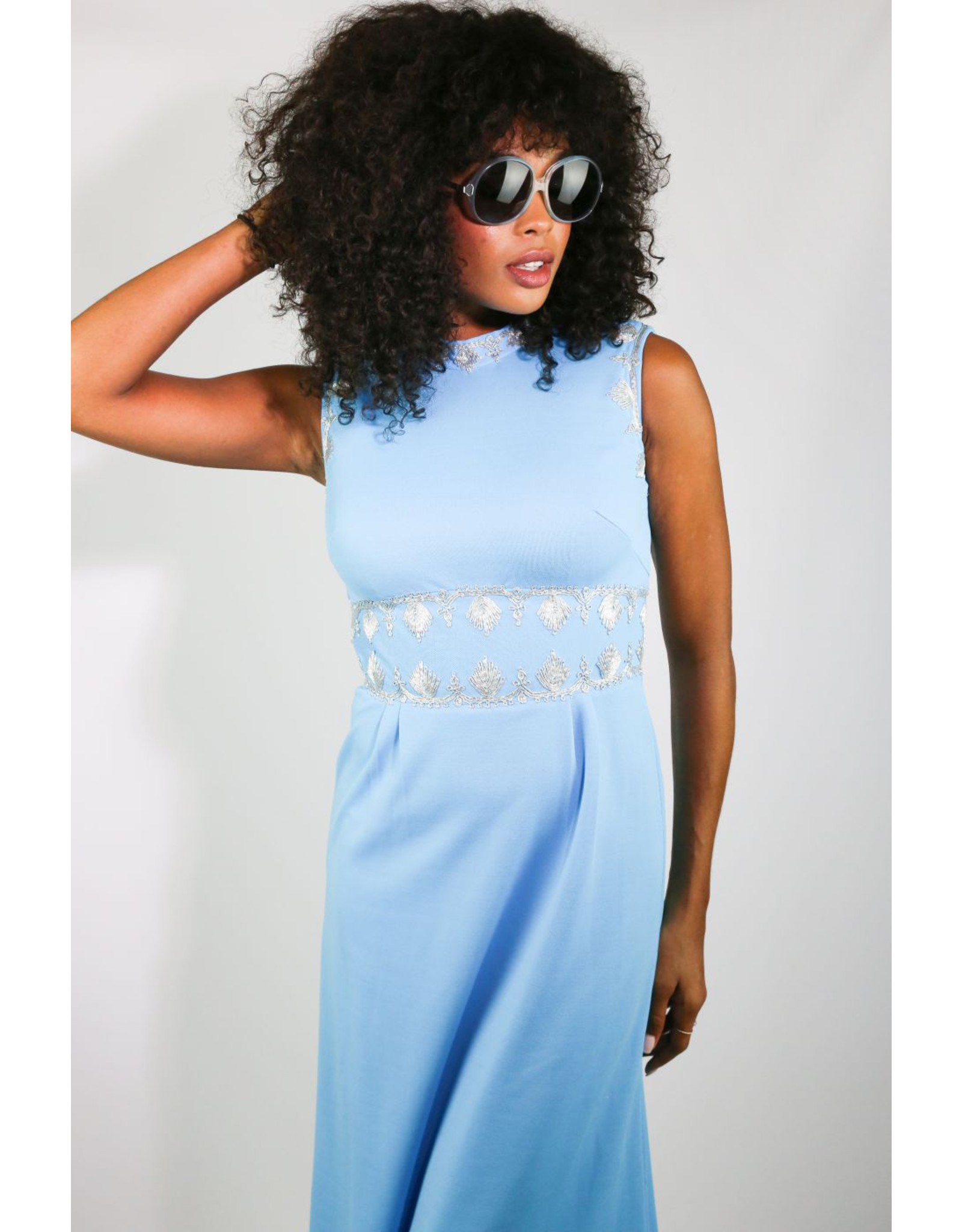 1970's Blue & Silver Grecian Maxi Dress