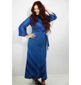 1970's Plus Size Blue & Green Knit Maxi Dress