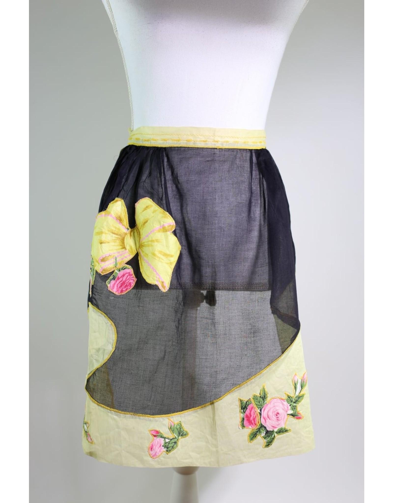 1950's Black & Yellow Apron w/ Bows & Flowers