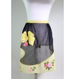 1950's Black & Yellow Apron w/ Bows & Flowers