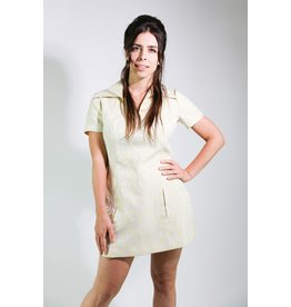 1970's Yellow & Grey Swirl Mini Dress