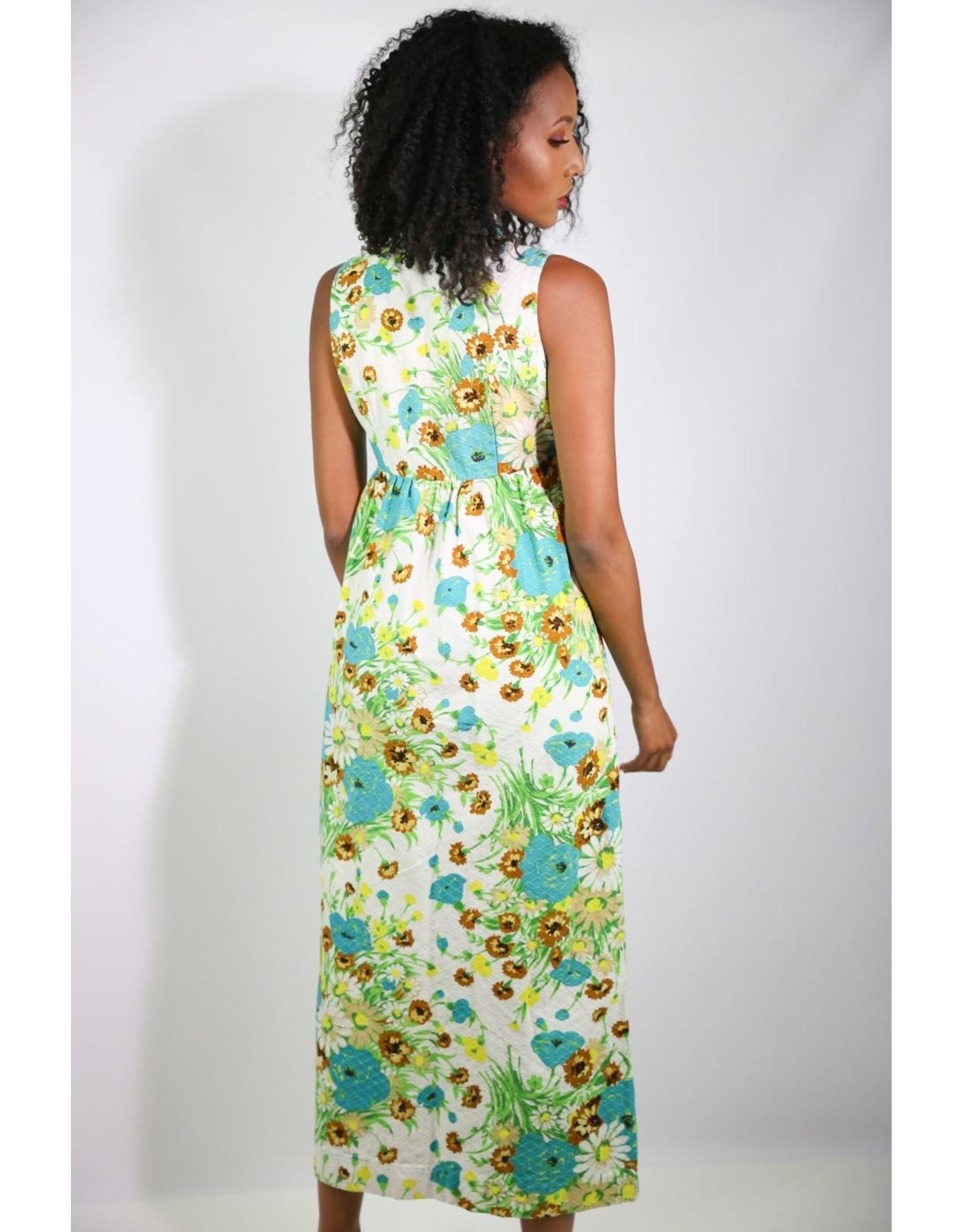 1970's White & Blue Floral Maxi Dress