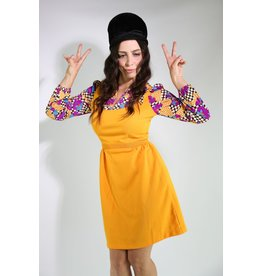 1970's Orange and Purple Mini Dress