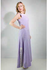 1970's Purple Polka Dot Maxi Dress
