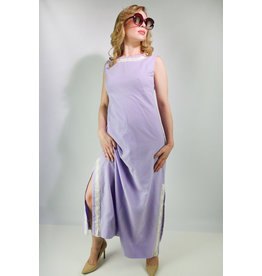 1970's Purple Polka Dot Maxi Dress