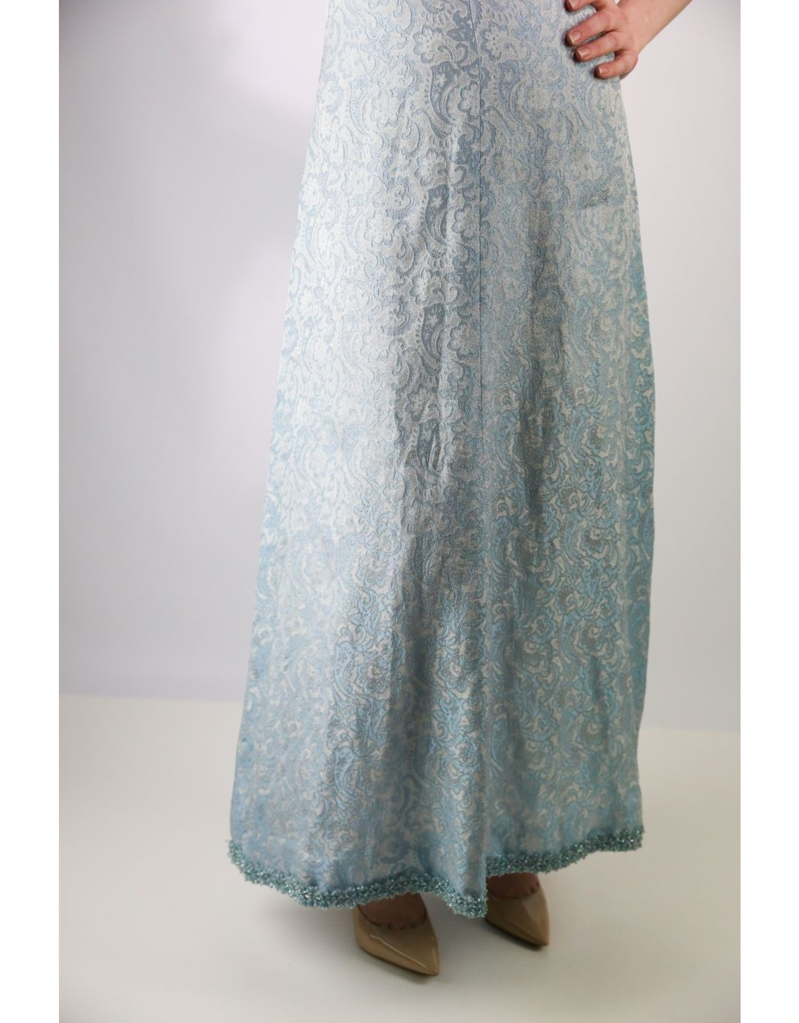 1970's Blue & Silver Textured Cocktail Dress
