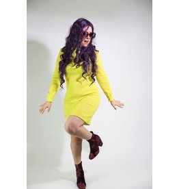 1960's Astronaut-Inspired Yellow Midi Dress