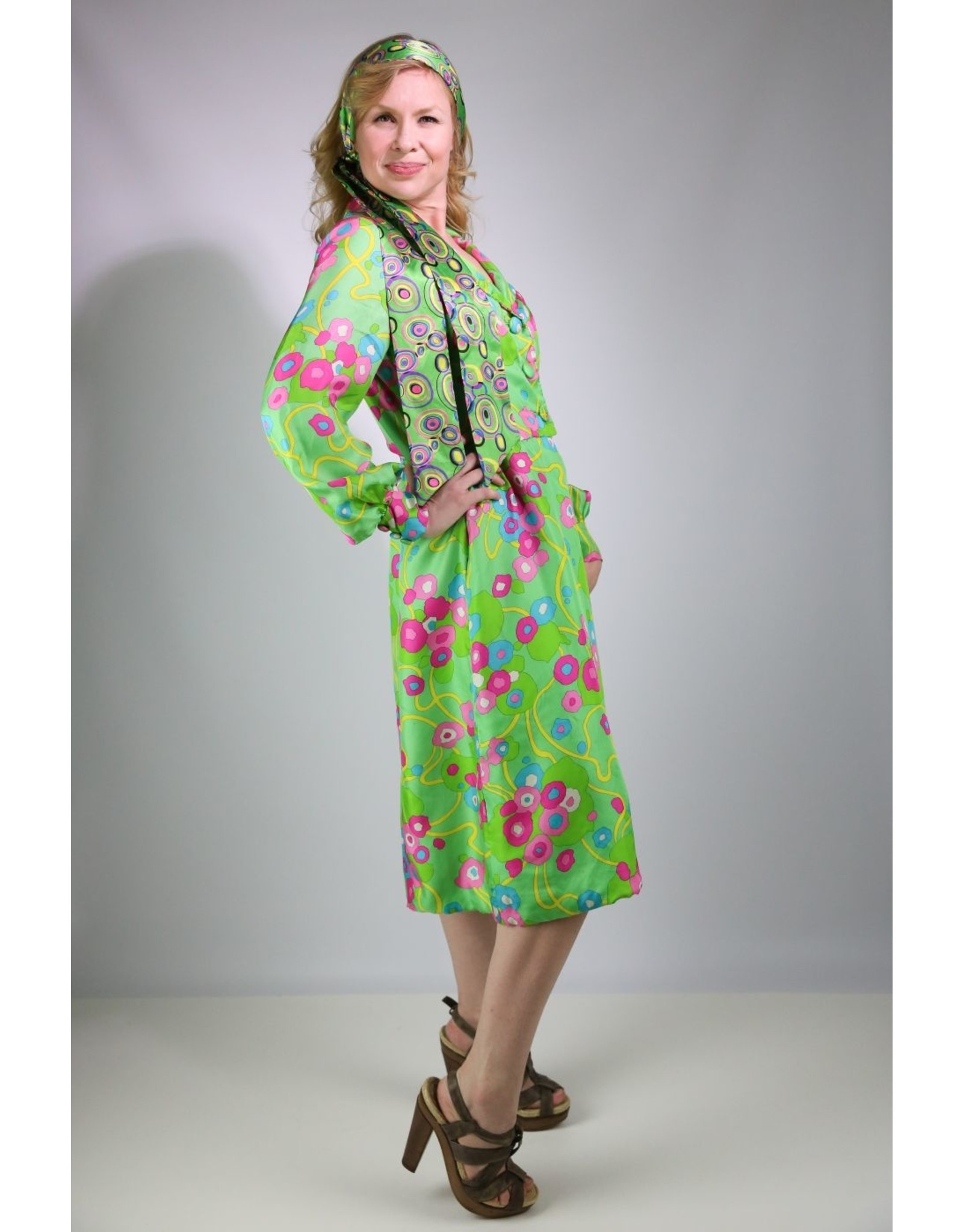 1960's Vibrant Green & Pink Floral Dress
