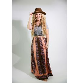 1970's Brown Patchwork Maxi Skirt