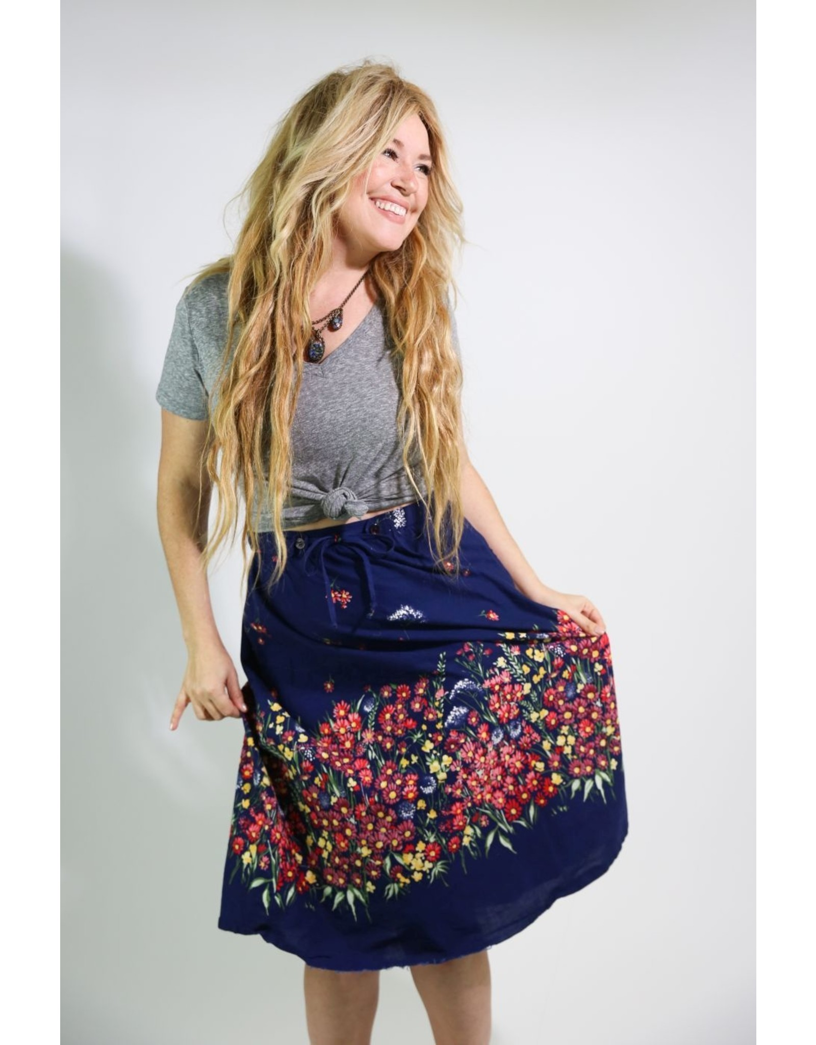 1970's  Navy Blue Skirt with Flowers