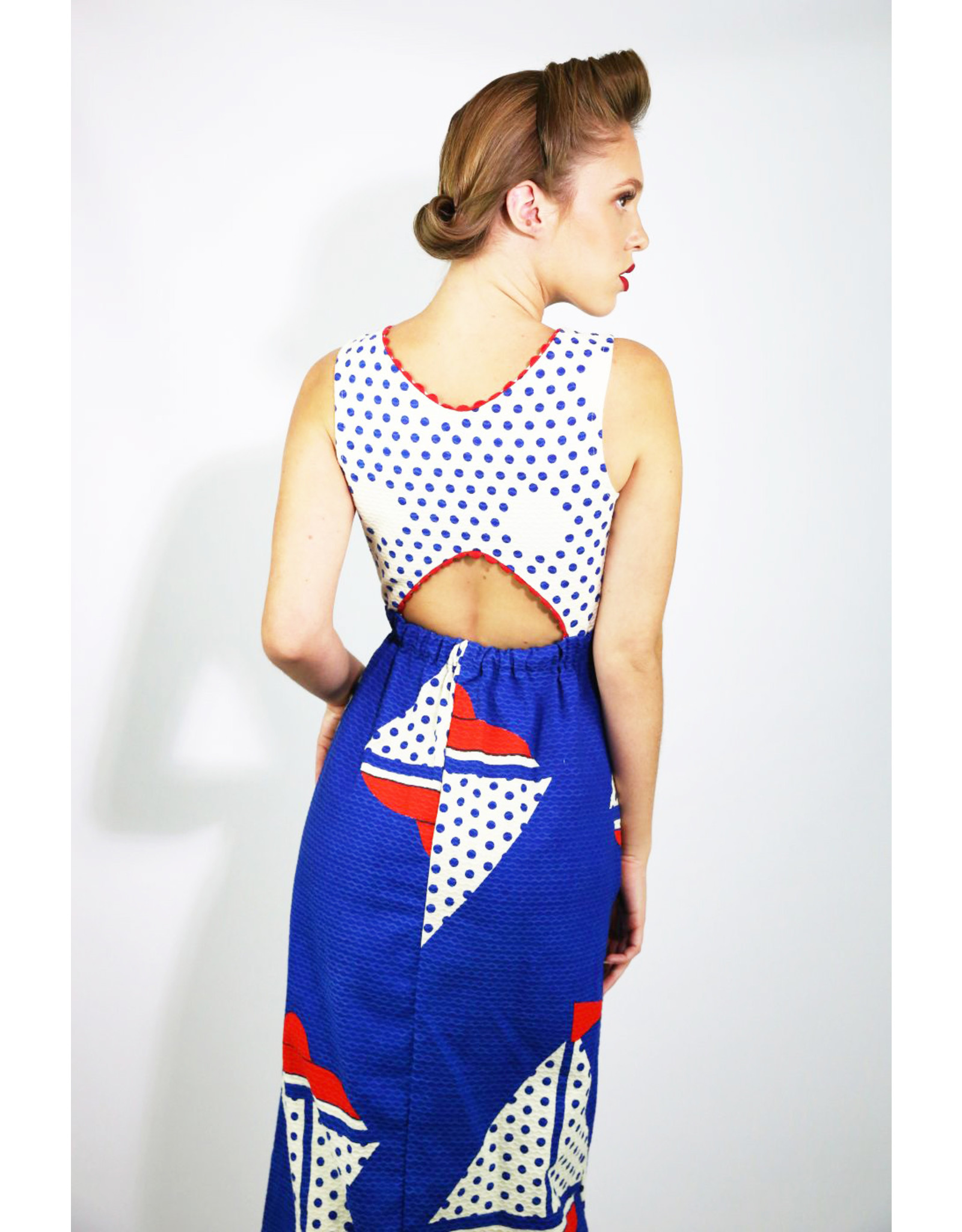 1940's Red white and blue sailboat dress