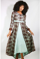 1970's Renaissance Revival Brown & Blue Brocade Dress