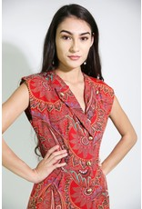 1980's Red Paisley Business Dress
