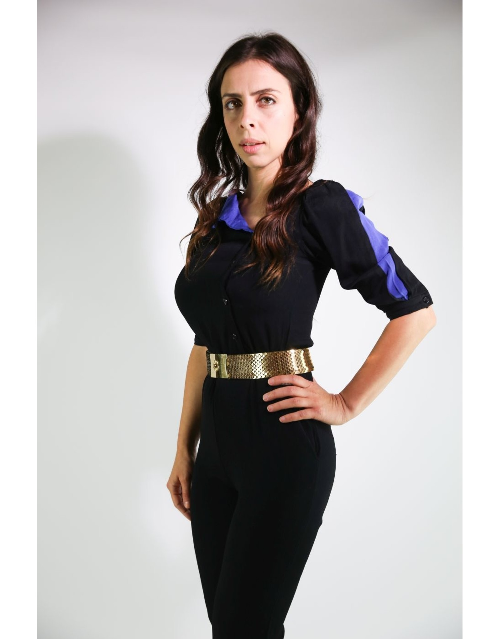 1980's Black & Blue Fitted Jumpsuit