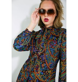1980's Red, Blue, & Black Paisley Blouse