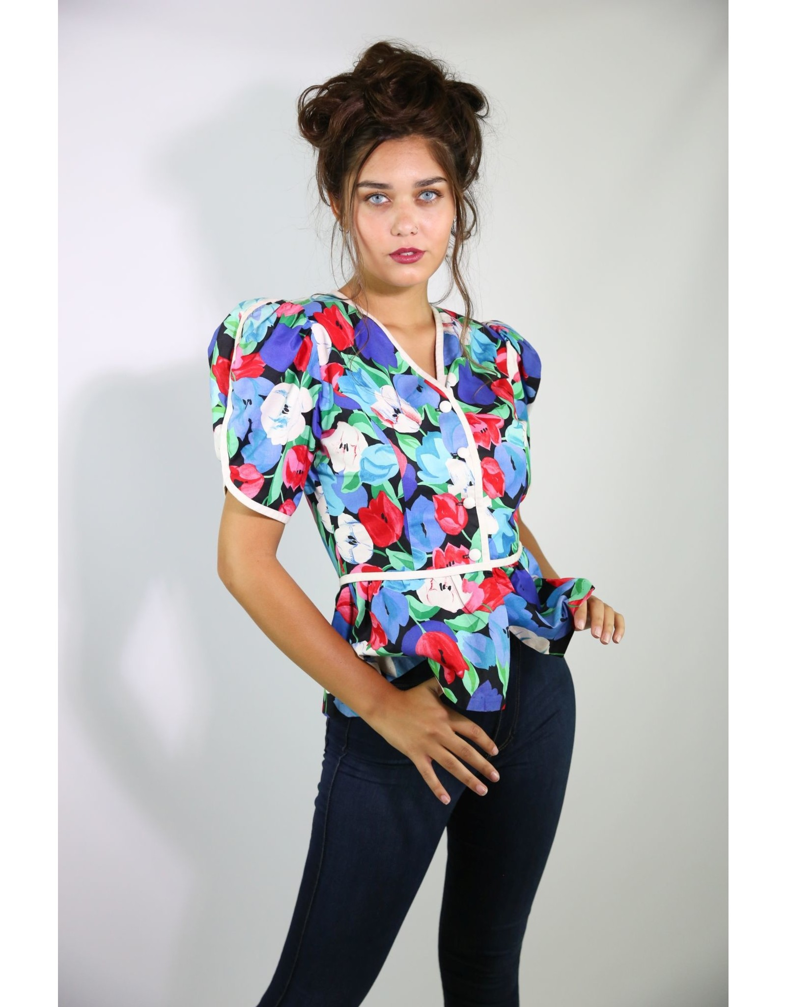 1980's Puff Sleeve Floral Top