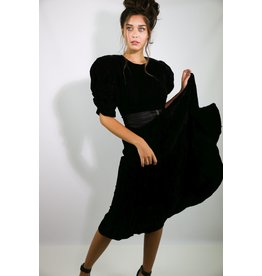 1980's Black Velvet Maxi Formal Dress