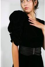 1980's Black Velvet Maxi Formal Dress