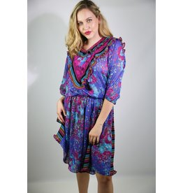 1980's Purple Floral Boho Dress