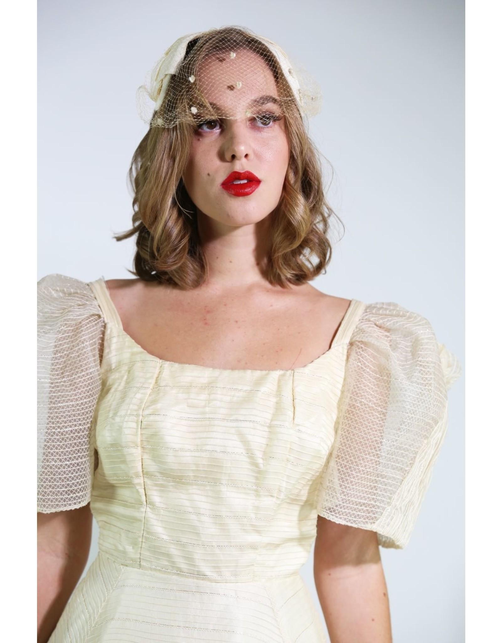 1950's Ivory Bow Bridal Headpiece