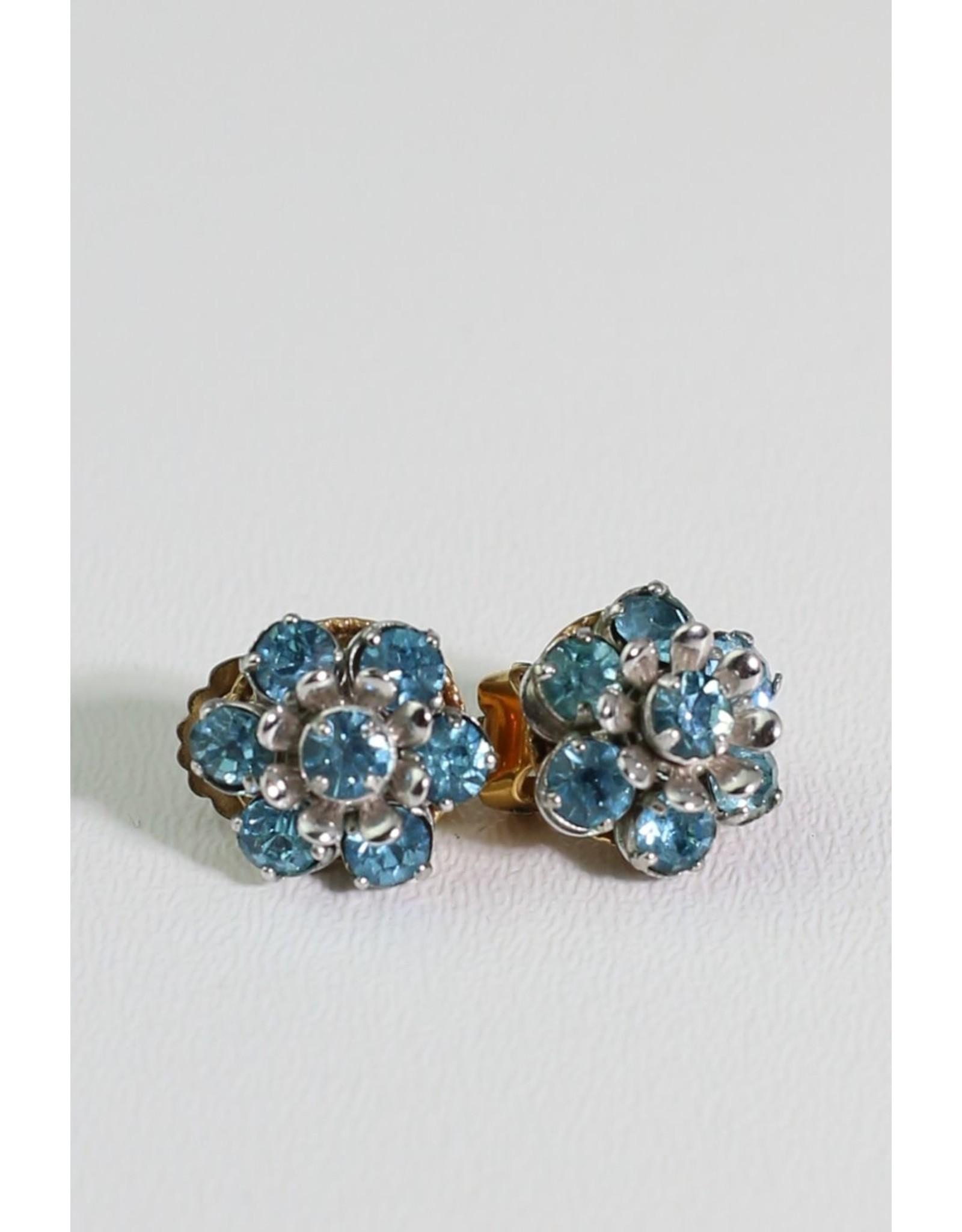 1960's Blue Rhinestone Barclay Earrings