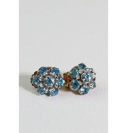1960's Blue Rhinestone Barclay Earrings