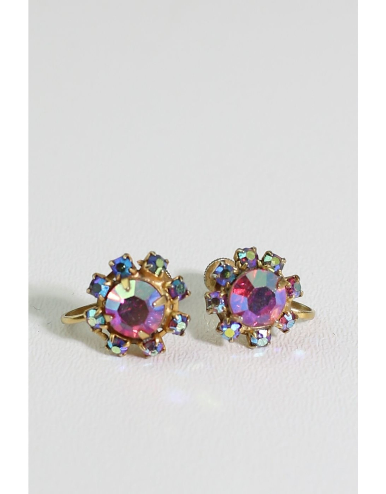 1960s Pink & Blue AB Crystal Earrings