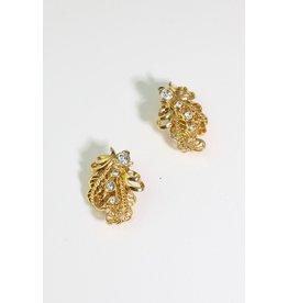 1970's Gold & Rhinestone Earrings