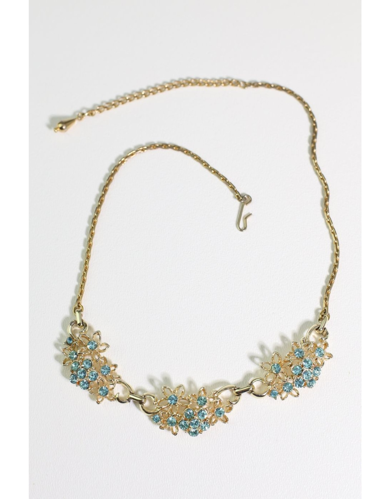 1960's Gold w/ Blue Rhinestones Necklace