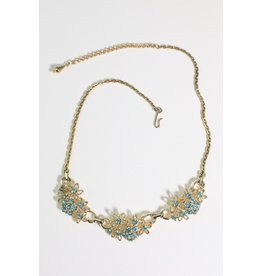 1960's Gold w/ Blue Rhinestones Necklace