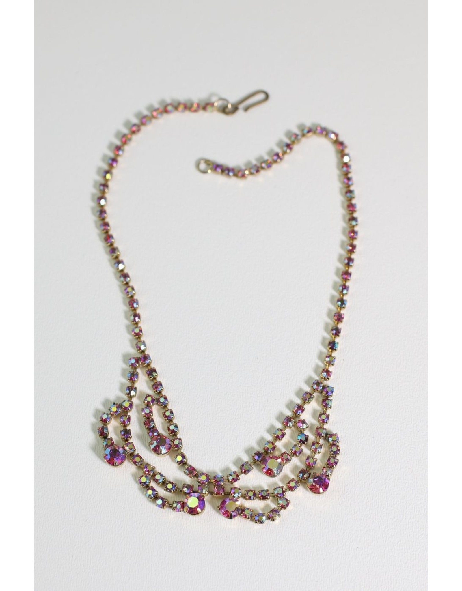 1950's Pink AB Rhinestone Necklace
