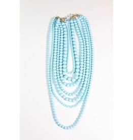 1980's Blue Multi-Strand Bead Necklace