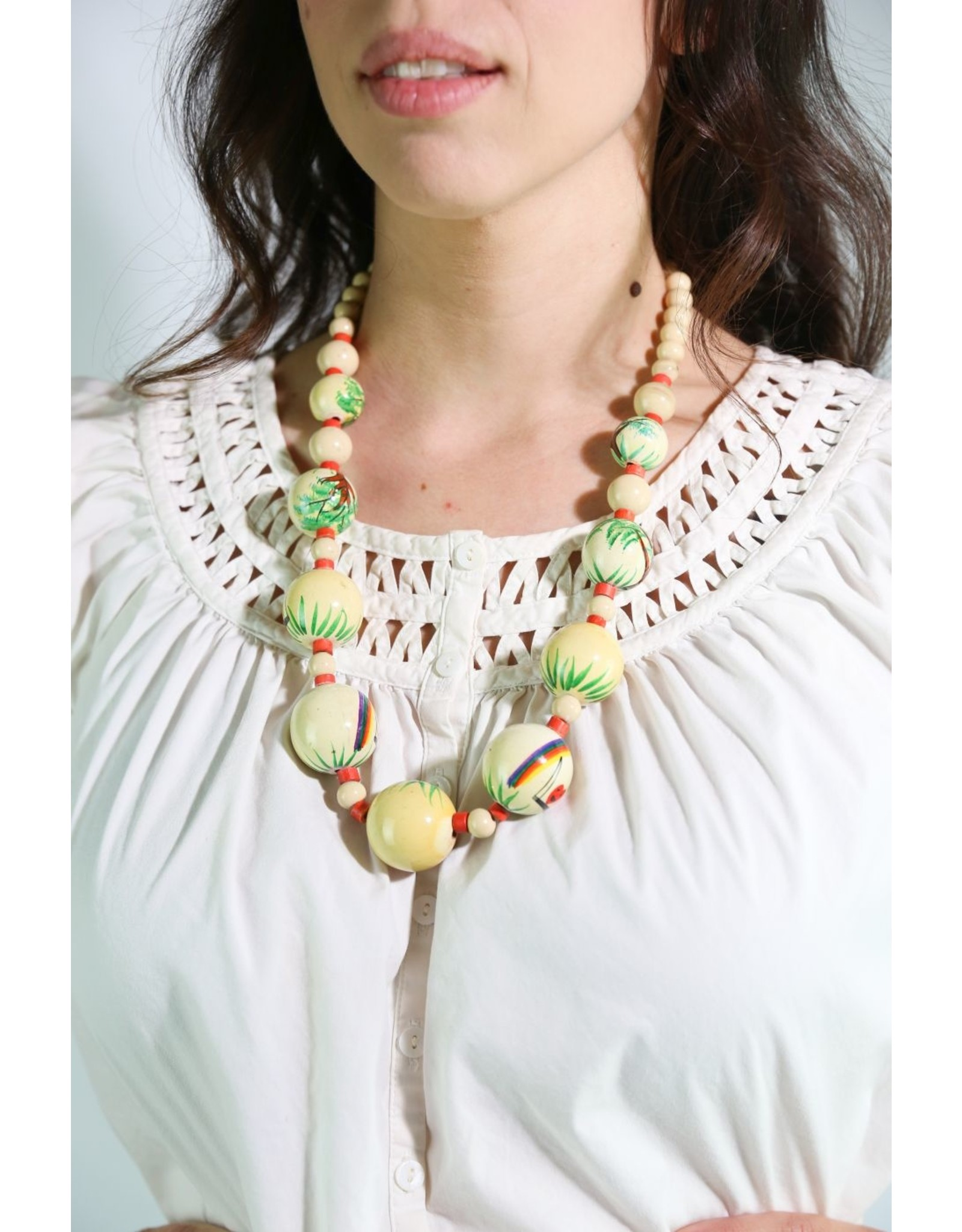 1950's Polynesian Hand-Painted Wood Bead Necklace