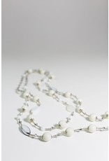 1960's White Beaded Long Necklace