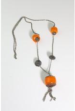 1970's Long Boho Necklace w/ Orange Resin Beads
