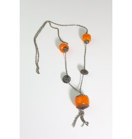 1970's Long Boho Necklace w/ Orange Resin Beads