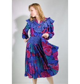 1980's Pink & Blue Boho Ruffle Dress