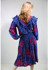 1980's Pink & Blue Boho Ruffle Dress